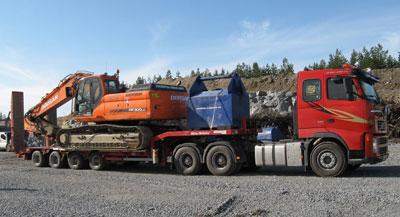 Koneiden kuljetus lavetilla - Ollin Sora